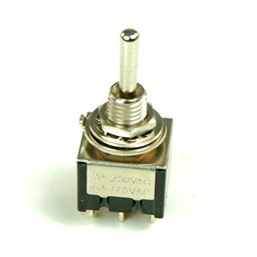 8 Miniatur Kipp Schalter 2Polig Ein - Aus - Ein Umschalter Knebelschalter
