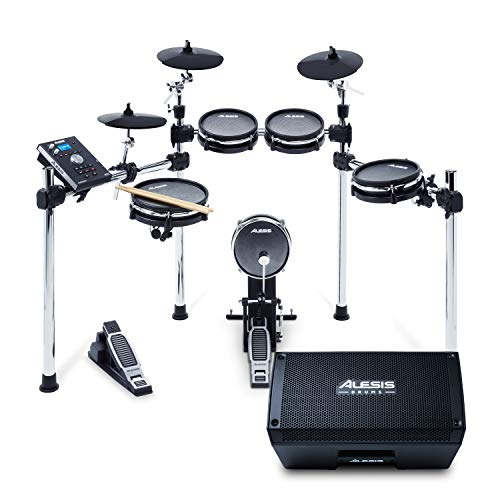 Alesis Command Mesh Kit + Strike Amp 8 - Electronic Drum Set with Mesh Heads and 2000-Watt Portable Drum Amplifier/Speaker with 8-inch Woofer