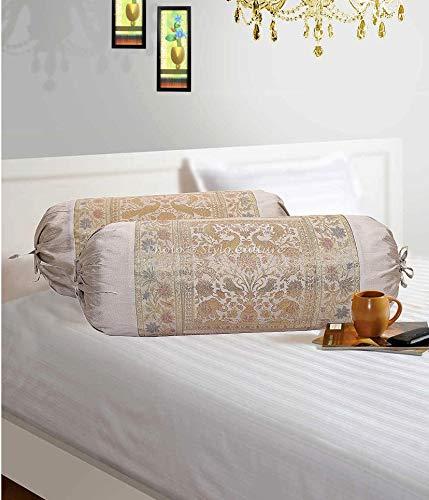 Stylo Culture Elefante Cilíndrica Fundas De Almohadas 70x40 Ronda Decorativa Fundas para Cojines Bolster Covers Gris Brocado Jacquard Polidupion Tradicional Largo For Settee (Set of 2)