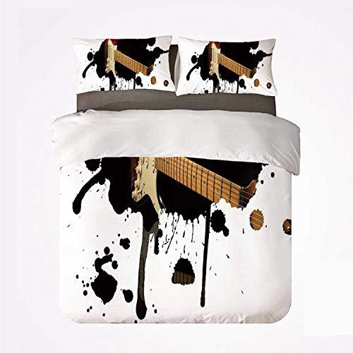 Miwaimao Diapasón de Guitarra eléctrica Popstar Party en Color Negro Sucio salpica Arte,Juego de Ropa de Cama con Funda nórdica de Microfibra y 2 Funda de Almohada - 240 x 260 cm
