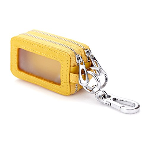 Esdrem Funda Unisex de piel con cremallera para llaves de coche amarillo...