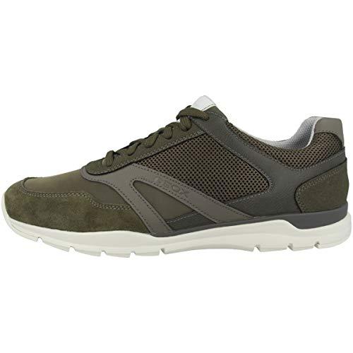 Geox Hombre Zapatillas U CALAR, de Caballero mínimo, Zapatos Deportivos,Zapatillas con Cordones,Transpirable,Calzado,Sneaker,Military,43 EU / 9 UK