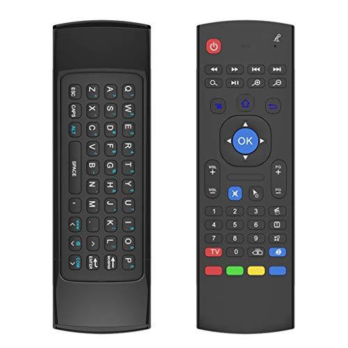 Mando a Distancia con Mini Teclado y Ratón Aéreo al Reverso, Ratón Aéreo Air Mouse MX3 Control Remoto USB2.0 Inalámbrico IR Compatible con Android TV, Raspberry Pi 4, Kodi, PC Ordenador