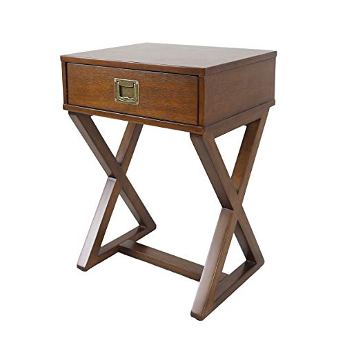 Penguin Home Elegant X Leg Choc Brown Side Table W19', D15', H'23