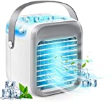 Portable Air Conditioner Fan, Personal Space Air Cooler Desk Fan, Handle Design Mini Evaporative Cooler, 3 Speeds Humidifier Misting Cooling Fan with 7 Colors Lights for Home Office Dorm Room