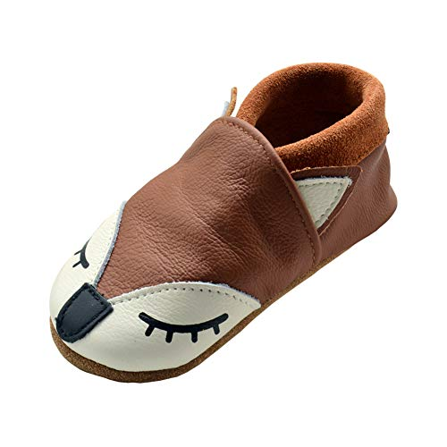 iEvolve Baby Babyschuhe Wildledersohle Baby Lederschuhe Lauflernschuhe Krabbelschuhe Vielzahl Art(Braun Fuchs,12-18 Monate)