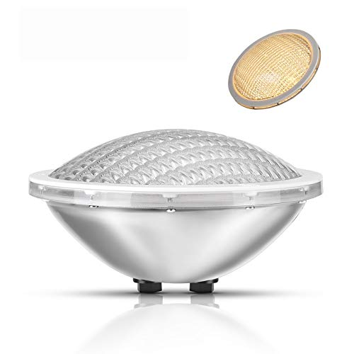 LyLmLe LED Poolbeleuchtung PAR56 Edelstahl 30W Schwimmbad Led, IP68 Wasserdicht LED Unterwasserscheinwerfer,12V AC/DC,3000K Warmweiß