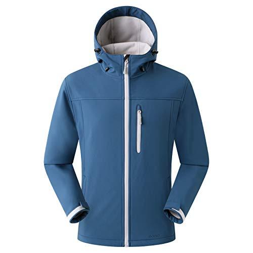 Eono Essentials - Chaqueta de senderismo de entretiempo con capucha para hombre, L (azul)