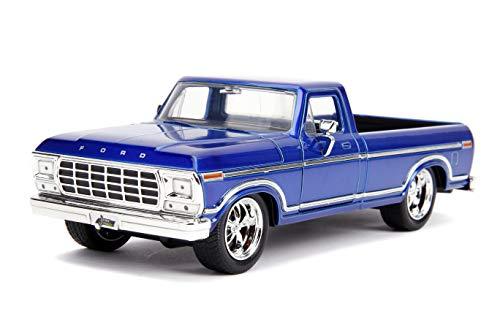 Voiture Miniature 1:24//Jada Toys Ford Bronco 1973 bleu//blanc