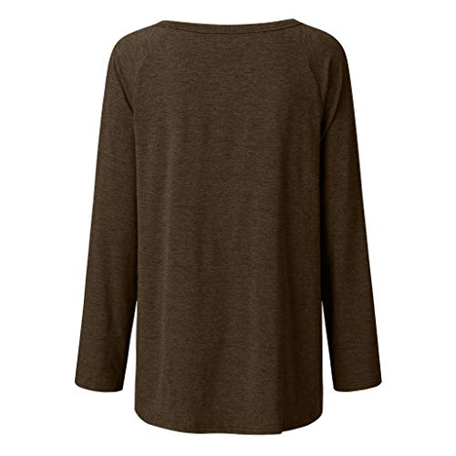Aniywn Women's Plus Size Sweatshirt Tops Ladies Baggy Long Sleeve Thin Solid Pullover Blouse T Shirts(Brown,L4)