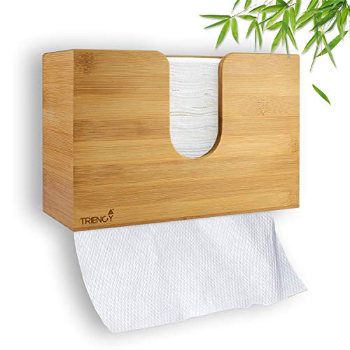 TRIENCY Papierhandtücher Spender Bambus, CWS Handtuchspender für Papierhandtücher Halter/Box, Papierhandtuchspender Stehend, Papierspender Wandmontage, Papiertuchspender Wand, Papiertücher für Spender