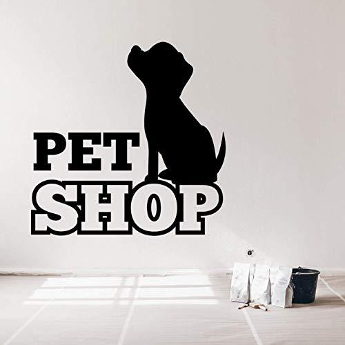 AGiuoo Etiqueta engomada del Vinilo del Arte de la Pared del Animal doméstico de la Silueta del Perro para la decoración de la Tienda de Mascotas extraíble 77x77cm