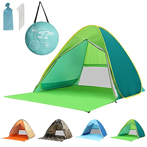 Ribitek ワンタッチ テント ポップアップテント サンシェードテント 日除けテント 組み立て不要 設置簡単 日よけUPF50+ 遮熱 UVカット 2-3人用 防水 通気性抜群 アウトドア 公園/運動会(最新版)