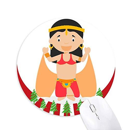Traditionelle orientalische Tänzerin Cartoon Round Rubber Mouse Pad Weihnachtsdekoration