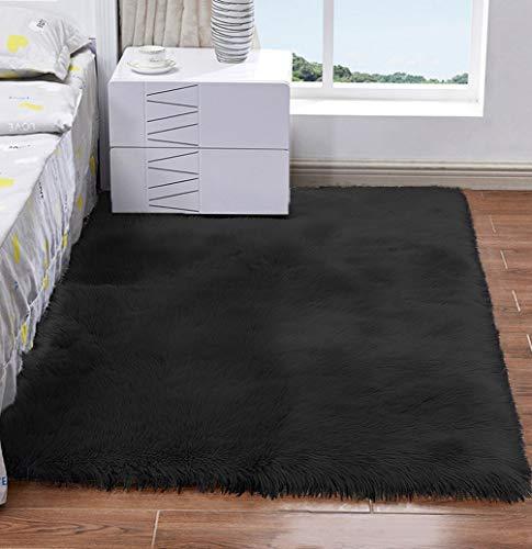 HARESLE Alfombra de piel sintética suave y mullida alfombra de piso para dormitorios, sala de estar, decoración del hogar, color negro