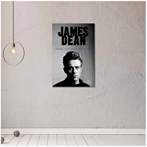 LIUXR James Dean Dream As You Live Forever Póster e Impresiones Arte de la Pared Pintura en Lienzo Impresiones en la Pared Decoración del hogar -20x28 Pulgadas Sin Marco 1 PCS