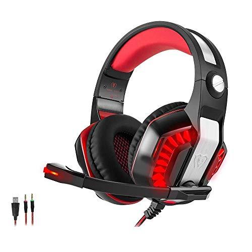 Gaming Kopfhörer PS4 PC, Beexcellent GM-2 Gaming Headset Overear mit mikrofon Led, Lautstärkeregelung Stereo Bass Noise Cancelling, für Xbox One, Laptop, Tablet, die meisten Smartphones (Rot)