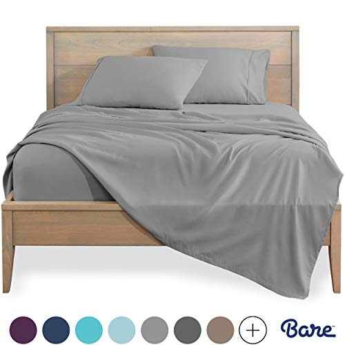 Bare Home Twin XL Sheet Set - College Dorm Size - Premium 1800 Ultra-Soft Microfiber Sheets Twin Extra Long - Double Brushed - Hypoallergenic - Wrinkle Resistant (Twin XL, Light Grey)