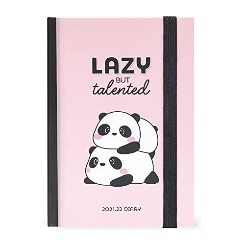 Legami - Agenda Settimanale 16 mesi, da Settembre 2021 a Dicembre 2022, 9,5x13,5 cm, con Notebook per Appunti, con Piano Ferie, Planner Mensile, Elastico, Segnalibro, Lazy Panda, SETTIMANALI SMALL