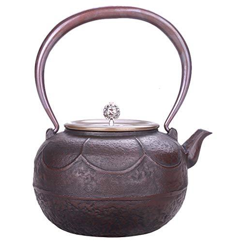 JYSXAD Tetera de Hierro Fundido, Tapa de Cobre y Mango de Cobre, Tetera Retro Japonesa Hecha a Mano de imitación, Utilizada para té a Granel (1.1L marrón)