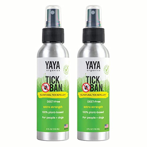 Yaya Organics Tick Ban | Extra Strength Tick Repellent Made with Essential Oils and All Natural, DEET Free Ingredients | Proven Effective, Safe for Adults, Kids and Dogs | 4 Ounce 2 Pack