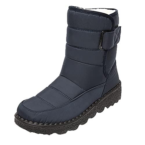 Fullwei Winter Snow Boots for Women,Women Platform Waterproof Snow Sneaker Booties Fur Lined Warm Ankle Boot Ladies Comfy Slip On Boot Causal Walking Shoe (Blue, 8.5)
