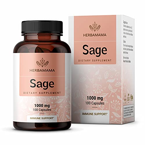 HERBAMAMA Sage Capsules - 1000mg, 100 Capsules - Organic Salvia Officinalis Nutritional Supplement Promoting Brain Function, Immunity & Digestive Wellness - Vegan, Non-GMO Sage Leaf Dietary Extract