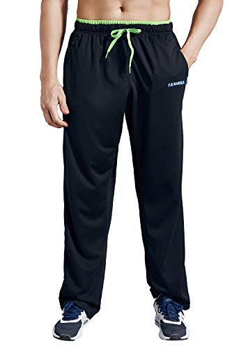 LUWELL PRO Men's Sweatpants with Zipper Pockets Open Bottom Athletic Pants for Jogging, Workout, Gym, Running, Training(0727 Black,L)