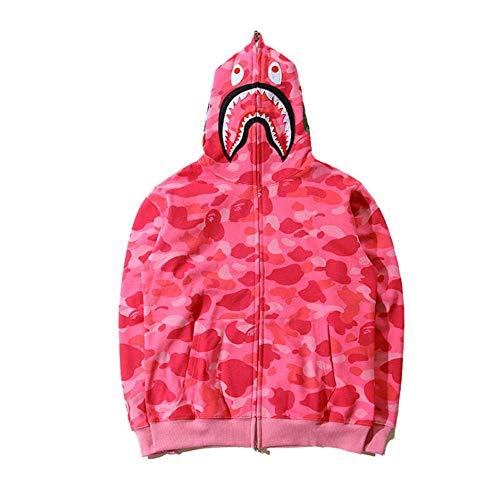 Bape Shark Camo Pullover Hoodie, Unisex de Manga Larga con Estampado de Grafiti con Cremallera, Aumenta el Valor Genial en un 100%,Pink 1,XL