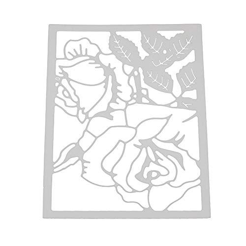 Lazzboy Stencil Cutting Dies Metal Die Paper Card Arts Hand Craft Decorative for Sizzix Big Shot/Other Machines(C, Flower-3 Chinese Rose)
