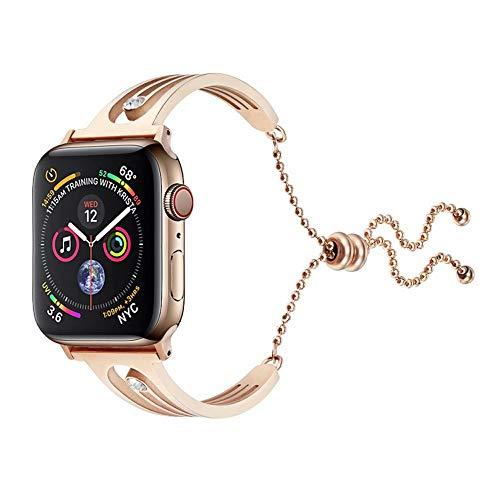 JIADUOBAO Correa compatible con Apple Watch de 38 mm, 42 mm y 44 mm, correa de repuesto ajustable, compatible con Apple Watch (color: dorado, tamaño: 40 mm)