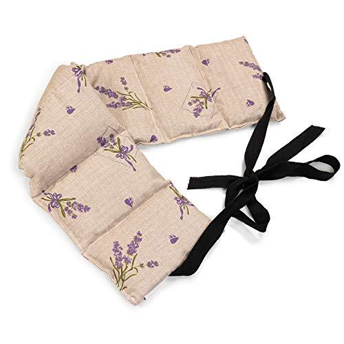 Cuscino con semi di lino (65x15cm, Fiore romantico, 7 compartimenti con banda da legare) Cuscino termico per forno, microonde e frigorifero. Caldo e freddo