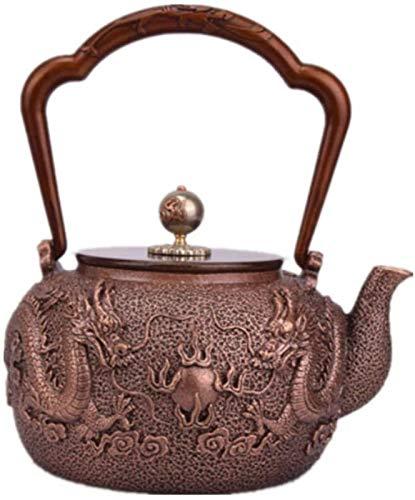 WQF Tetera de 1,2 l, Olla de Cobre de Estilo japonés, patrón de Cuentas de Juego de dragón Doble, Juego de té Hecho a Mano de Agua hervida de Cobre Puro, Cobre Fundido Grueso