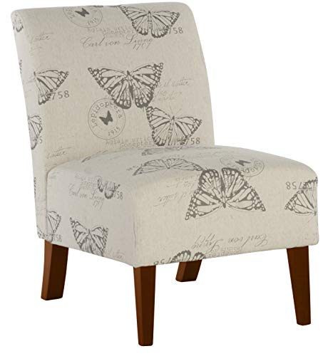 Linon Butterfly, Dark Espresso Linen Lily Chair, 21.5' W x 29.5' D x 31.5' H