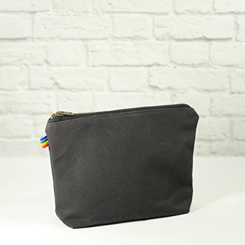 Charcoal Gray Waxed Canvas Bag with Brass Zipper