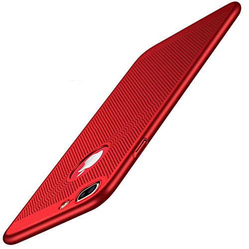 iPhone 7 Plus Case, Ultra-Thin [Skin Touch Feel][Heat Dissipating] Anti-Fingerprint/Skid/Fade Protective Breathable Cooling PC Back Cover Case for Apple iPhone 7 Plus 5.5', Red
