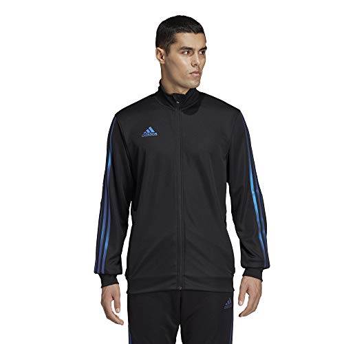 adidas Men's Alphaskin Tiro Training Jacket, Black/Blue Pearl Essence, Large