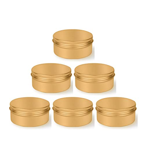 12x 150ml Envases Cosméticos de Aluminio Dorado Frascos Redondos Vacíos para Crema Loción Bálsamo Labial Vela Muestra Uña Abalorios