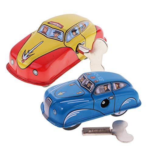 FLAMEER 2 Stücke Retro- Taxi Auto & Polizeiwagen Blechspielzeug mit Schlüssel Perfekte Sammlung Geschenk für Erwachsene und Kinder