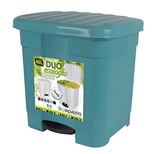 Cubo de Basura Pedal 2 compartimiento 46 litro Plástico 45 x 41 x 47 cm ,Contenedor de basura 2 Divisiones Interiores multicolores (Verde)