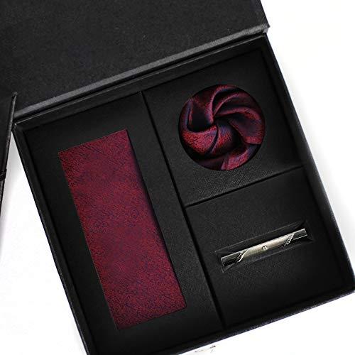 HOOLNB 7X3.5X143cm Uomini Seta di Gelso del Legame Solido Cravatta Mens del Vino Rosso di Colore Cravatte Set per Il Matrimonio Formale di Feste Set