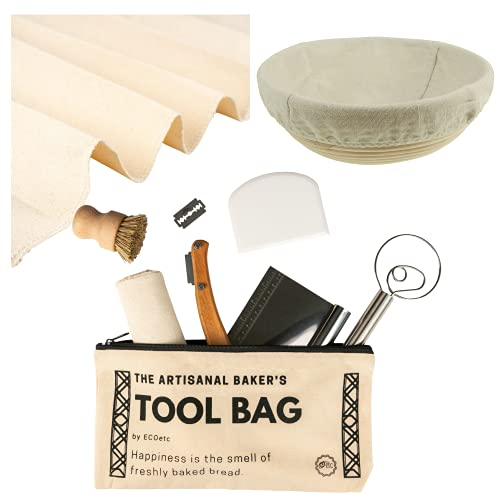 Bread Proofing Basket Set - Sourdough Bread Baking Supplies Set comes with a 9' Round Banneton Basket with linen liner, Proofing Cloth and premium quality tools for bread making with Bonus Baker's Toolbag and E-Booklet to get you started. Great Gifts for Bakers.