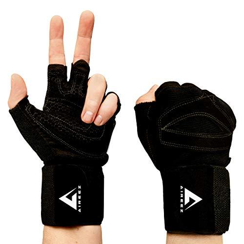 Aireez® 2 in 1 Fitness Handschuhe, Trainingshandschuhe, Sporthandschuhe & Handgelenk Bandagen für Damen & Herren | Gewichtheben Pad, Kraftsport, Krafttraining, Crossfit Grips & Gym Training