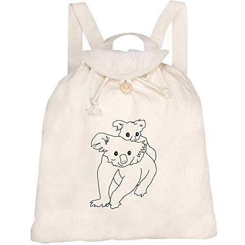 Azeeda 'Koala & Joey' Canvas Rucksack / Backpack (RK00012387)