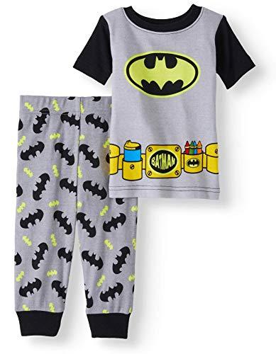 AME Baby Boys Batman Snug Fit Cotton Pajamas, Black Gray, 12 Months