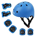 LBLA Helmet and Pads for Kids 3-8 Years Toddler Helmet,Kids Bike Skateboard Helmet ,Helmet Knee Elbow Wrist for Scooter,7Pcs Adjustable Protective Gear Set for Kids(Blue)