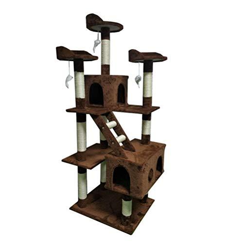 HDDFG Mascota Gatos Casa en el árbol Torre de Varios Niveles Casa de Cubo Creativa Rascado Cojines extraíbles Mascota Gato Actividad Entretenimiento (Color : Brown)