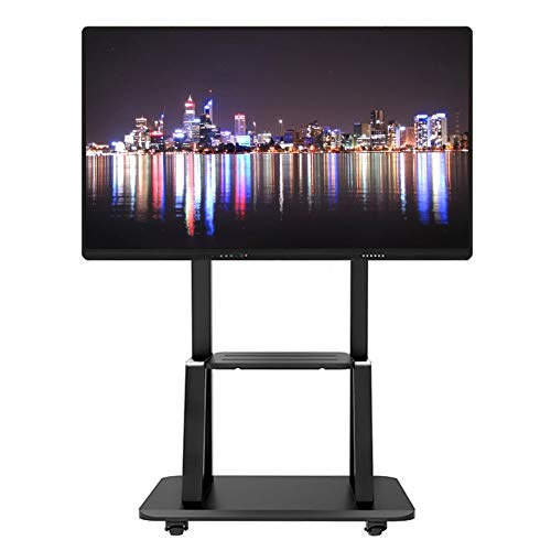 ERRU Portable Mobile TV Cart with Wheels, Height Adjustable TV Stand for 32 to 75 Inch LCD LED TV Screens, Business Conference Rolling TV Mount