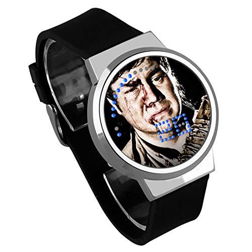 Armbanduhren,Film Er Walking Dead Wasserdicht Leucht Touchscreen LED Uhr Elektronische Uhr DIY Kreatives Geburtstagsgeschenk Silber Shell Black Belt