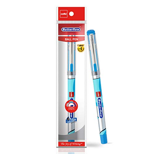 Cello Butterflow Ball Pen Set - Pack of 10 (Blue) | Ball pens with premium look for comfortable & smooth writing | Gives good handwriting